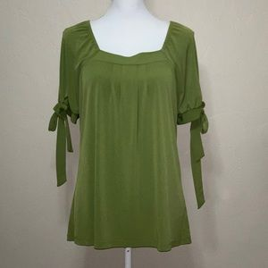 Worthington Green Short Sleeve Blouse
